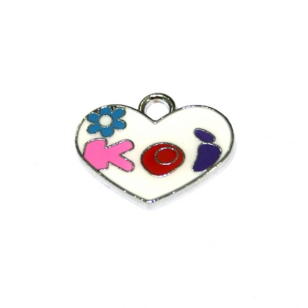 1pce x 21*11mm Rhodium plated white colour heart with light blue daisy enamel charm - SD03 - CHE1155